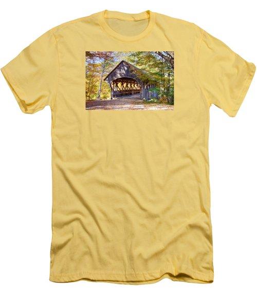 Sunday River Covered Bridge Men's T-Shirt (Slim Fit) by Jeff Folger