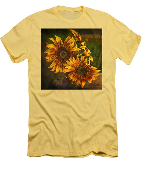 Men's T-Shirt (Slim Fit) featuring the photograph Sunflower Trio by Priscilla Burgers