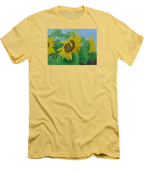 Sunflowers In The Wind Colorful Original Sunflower Art Oil Painting Artist K Joann Russell           Men's T-Shirt (Slim Fit) by Elizabeth Sawyer
