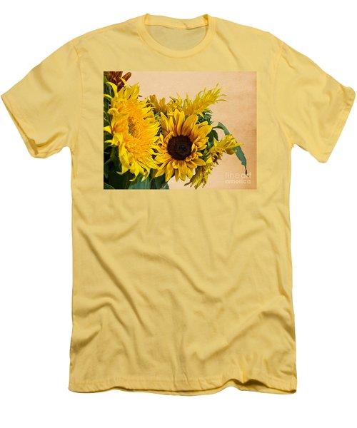 Sunflowers On Old Paper Background Art Prints Men's T-Shirt (Slim Fit) by Valerie Garner