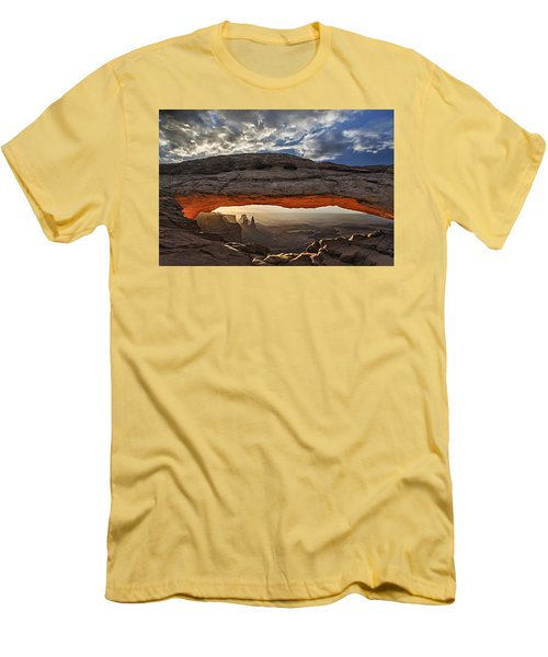 Sunrise At Mesa Arch Men's T-Shirt (Slim Fit) by Roman Kurywczak