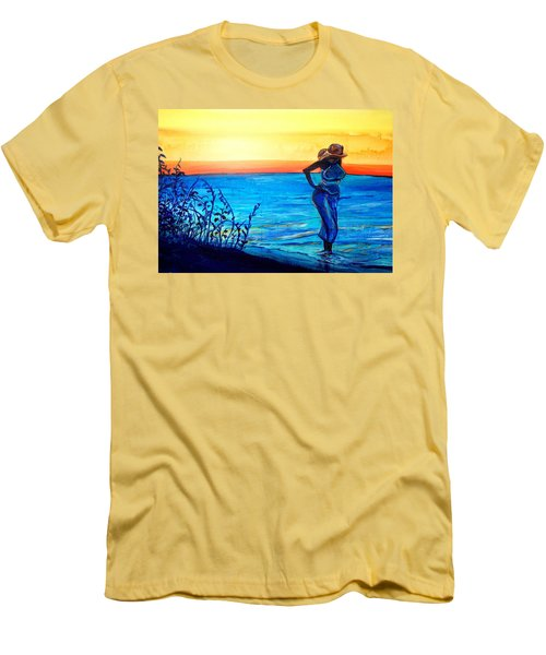 Men's T-Shirt (Slim Fit) featuring the painting Sunrise Blues by Ecinja Art Works