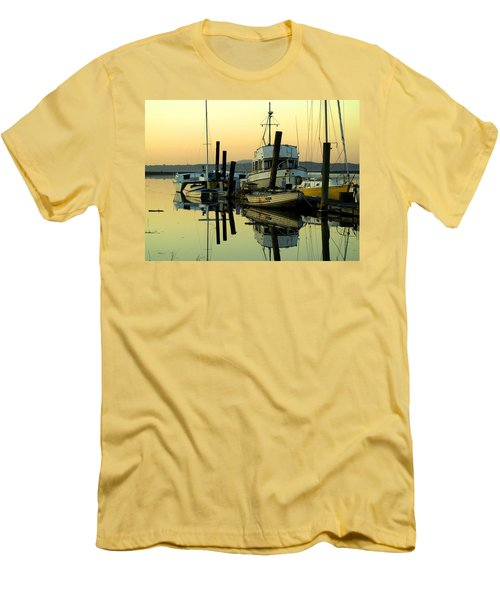 Sunrise On The Petaluma River Men's T-Shirt (Slim Fit) by Bill Gallagher