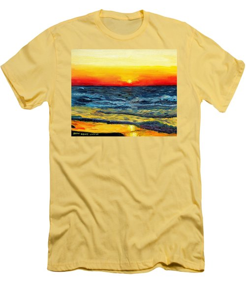 Men's T-Shirt (Slim Fit) featuring the painting Sunrise Over Paradise by Shana Rowe Jackson