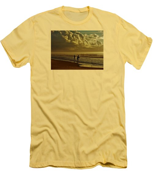 Men's T-Shirt (Slim Fit) featuring the photograph Sunrise Surf Fishing by Ed Sweeney