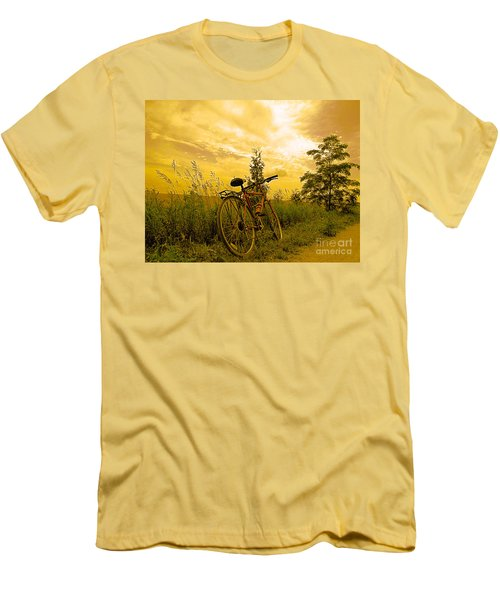 Sunset Biking Men's T-Shirt (Slim Fit) by Nina Silver