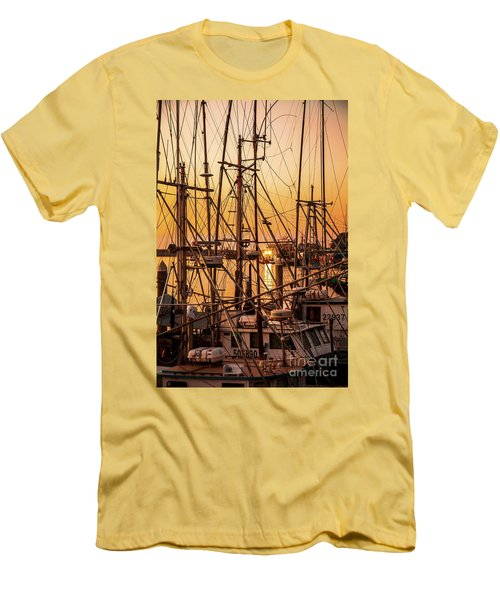 Sunset Boat Masts At Dock Morro Bay Marina Fine Art Photography Print Sale Men's T-Shirt (Slim Fit) by Jerry Cowart