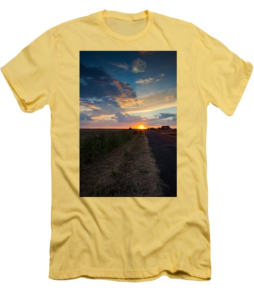 Sunset Down A Country Road Men's T-Shirt (Slim Fit) by Mark Alder
