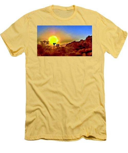Sunset Joshua Tree National Park V2 Men's T-Shirt (Slim Fit) by Bob and Nadine Johnston