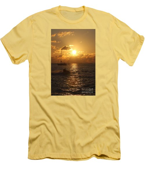 Sunset Over Key West Men's T-Shirt (Slim Fit) by Christiane Schulze Art And Photography