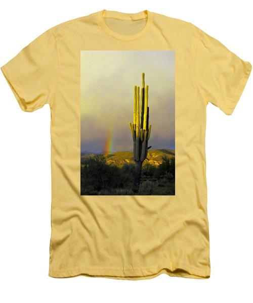 Men's T-Shirt (Slim Fit) featuring the photograph Sunset Rainbow Cactus by John Haldane