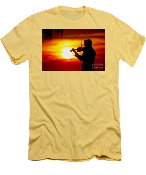 Men's T-Shirt (Slim Fit) featuring the photograph Sunset Violin Serenade Louisiana by Luana K Perez