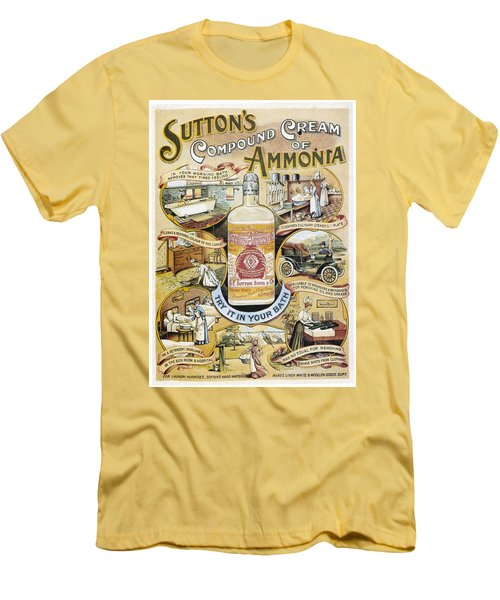 Men's T-Shirt (Slim Fit) featuring the photograph Sutton's Compound Cream Of Ammonia Vintage Ad by Gianfranco Weiss