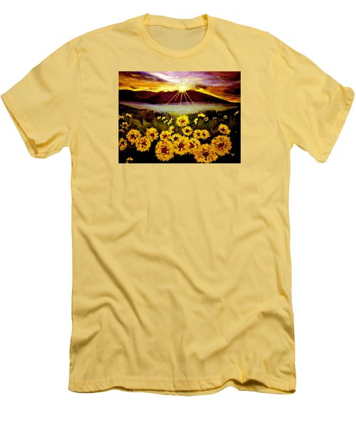 Men's T-Shirt (Slim Fit) featuring the painting Symphony Of The Sun.. by Cristina Mihailescu