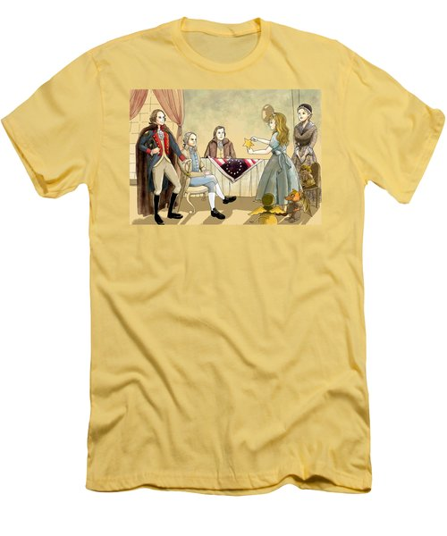 Men's T-Shirt (Slim Fit) featuring the painting Tammy Meets Betsy Ross And George Washington by Reynold Jay