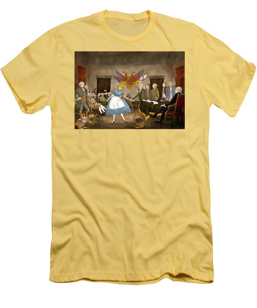 Men's T-Shirt (Slim Fit) featuring the painting Tammy In Independence Hall by Reynold Jay