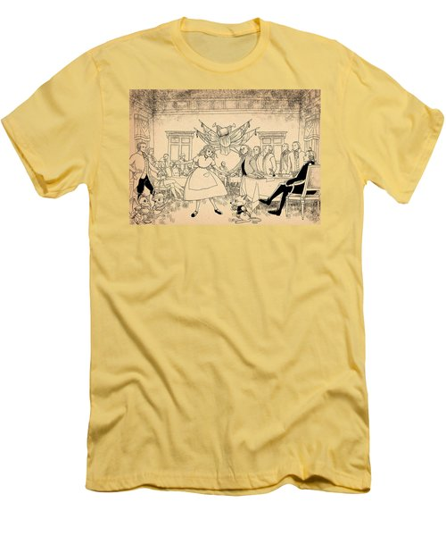 Men's T-Shirt (Slim Fit) featuring the drawing Tammy In Indpendence Hall by Reynold Jay