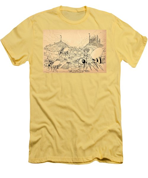 Men's T-Shirt (Slim Fit) featuring the drawing Flight Over Capira by Reynold Jay