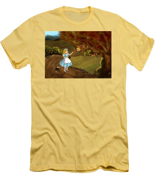 Men's T-Shirt (Slim Fit) featuring the painting Tammy Meets Zeke The Opossum by Reynold Jay