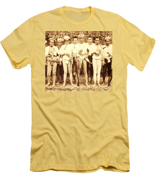 Men's T-Shirt (Slim Fit) featuring the photograph Tausug Tribe Members - Moros by Roberto Prusso