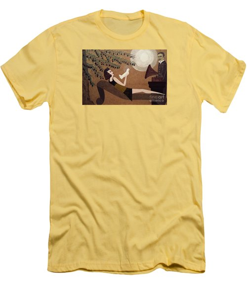 Men's T-Shirt (Slim Fit) featuring the painting Tesla And White Dove by Jasna Gopic