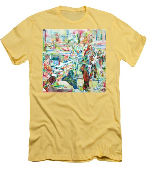 The Beatles Rooftop Concert - Watercolor Painting Men's T-Shirt (Athletic Fit)