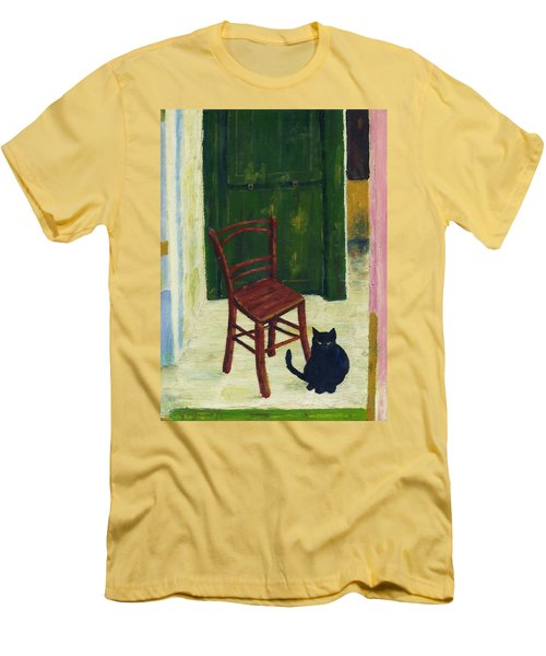 The  Black Cat Men's T-Shirt (Slim Fit) by Hartmut Jager