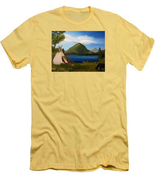 Men's T-Shirt (Slim Fit) featuring the painting Dawn Of Tohidu by Sheri Keith
