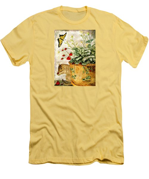 Men's T-Shirt (Slim Fit) featuring the painting The Discovery by Angela Davies