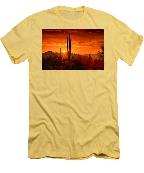 The Golden Southwest Skies  Men's T-Shirt (Slim Fit) by Saija  Lehtonen