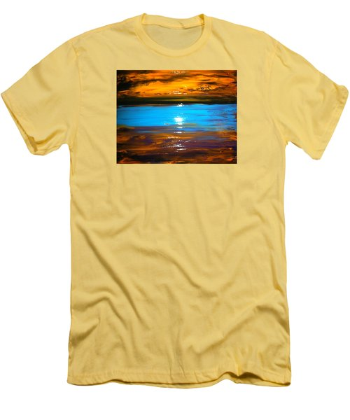 Men's T-Shirt (Slim Fit) featuring the painting The Golden Sunset by Kicking Bear  Productions
