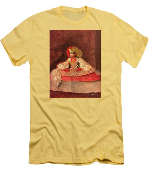 Men's T-Shirt (Slim Fit) featuring the painting The Infant Margarita by Randol Burns
