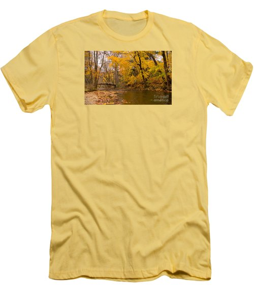 Men's T-Shirt (Slim Fit) featuring the photograph The Little Bridge Over Valley Creek by Rima Biswas