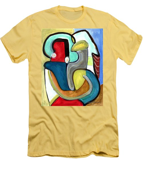 Men's T-Shirt (Slim Fit) featuring the painting The Lovers by Stephen Lucas