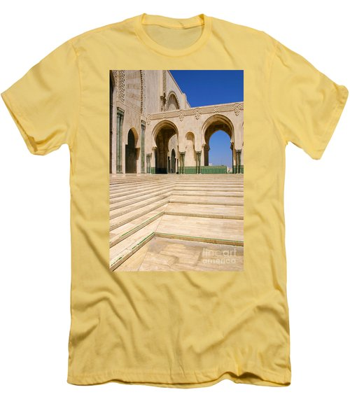 Men's T-Shirt (Slim Fit) featuring the photograph The Massive Colonnades Leading To The Hassan II Mosque Sour Jdid Casablanca Morocco by Ralph A  Ledergerber-Photography
