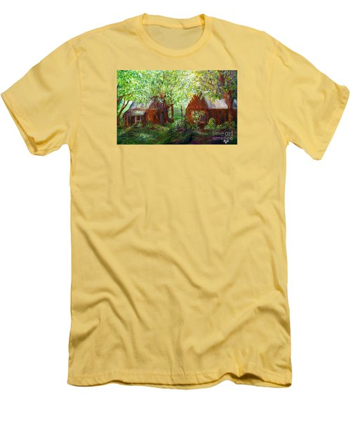 Men's T-Shirt (Slim Fit) featuring the painting The Old Swing Between The House And The Barn by Eloise Schneider