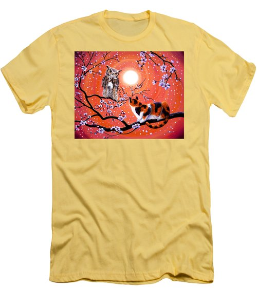 The Owl And The Pussycat In Peach Blossoms Men's T-Shirt (Athletic Fit)