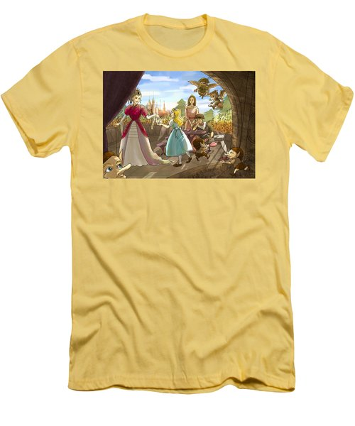 Men's T-Shirt (Slim Fit) featuring the painting The Palace Balcony by Reynold Jay