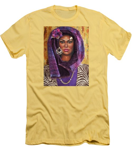 Men's T-Shirt (Slim Fit) featuring the painting The Whole Story Behind Violet by Alga Washington