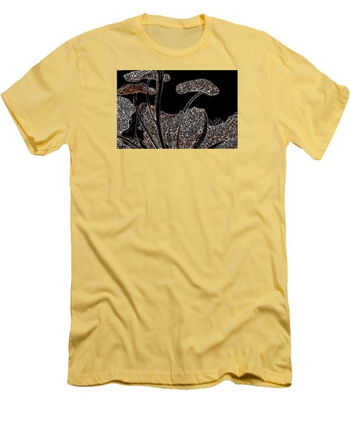Men's T-Shirt (Slim Fit) featuring the painting These Silly Little Mushrooms by Sherri  Of Palm Springs
