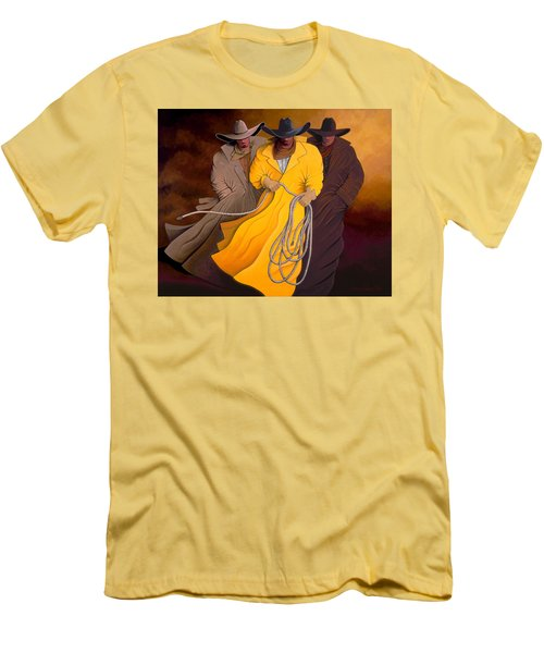 Men's T-Shirt (Slim Fit) featuring the painting Three Cowboys by Lance Headlee