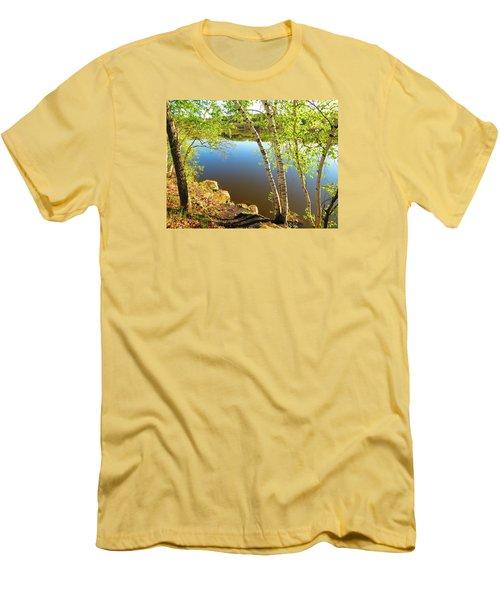 Through The Birch Men's T-Shirt (Slim Fit) by MTBobbins Photography