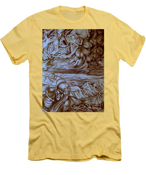 Men's T-Shirt (Slim Fit) featuring the drawing Titan In Desert by Mikhail Savchenko