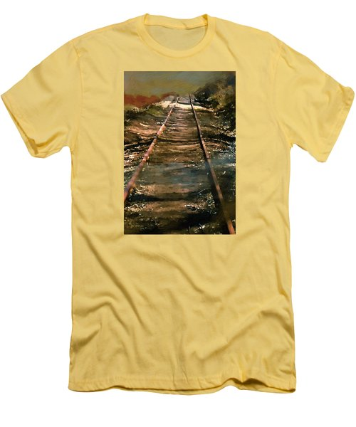 Train Track To Hell Men's T-Shirt (Slim Fit) by RC deWinter