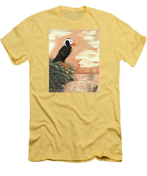 Men's T-Shirt (Slim Fit) featuring the painting Tufted Puffin At Dusk by VLee Watson