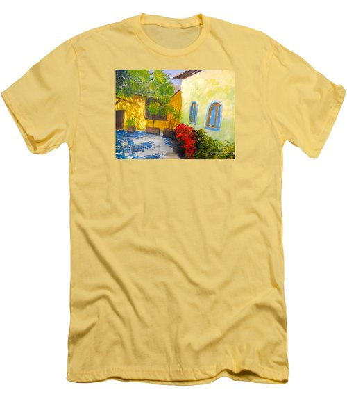 Men's T-Shirt (Slim Fit) featuring the painting Tuscany Courtyard 2 by Pamela  Meredith