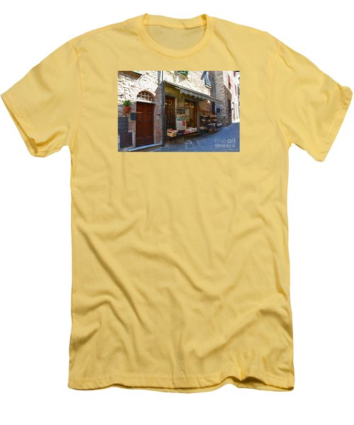 Men's T-Shirt (Slim Fit) featuring the photograph Typical Small Shop In Tuscany by Ramona Matei