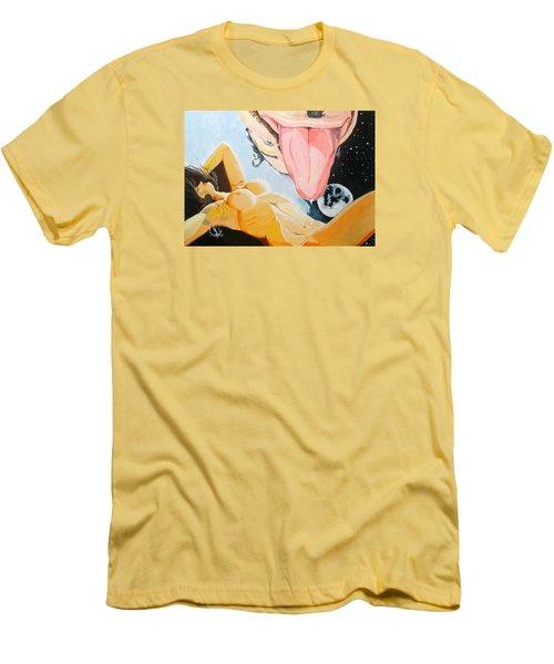 Men's T-Shirt (Slim Fit) featuring the painting Unbridled Night Noche Desbocada by Lazaro Hurtado