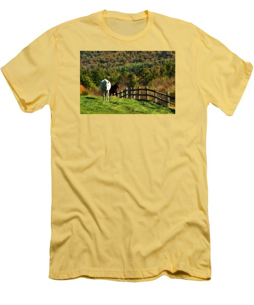 Men's T-Shirt (Slim Fit) featuring the photograph Up The Hill by Joan Davis