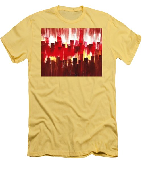 Men's T-Shirt (Slim Fit) featuring the painting Urban Abstract Evening Lights by Irina Sztukowski